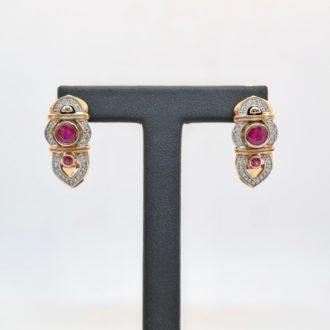 pendientes vintage rubi diamantes